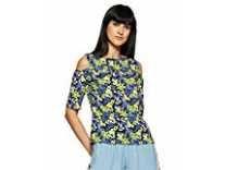 KRAVE Women's Floral Regular Fit Top (AW18KRAVE1102_Lemon Green_L) Rs. 156