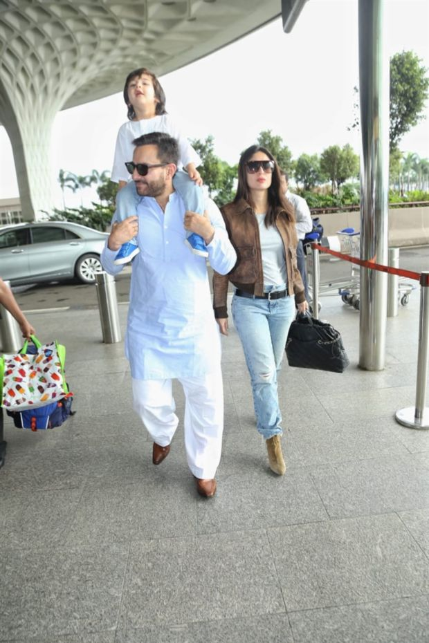 Saif Ali Khan, Taimur Ali Khan & Kareena Kapoor Khan Spotted At Mumbai Airport