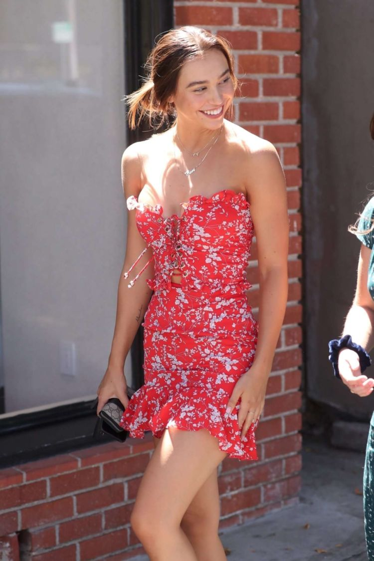 Pretty Alexis Ren Spotted In A Floral Dress At Alfred's In West Hollywood