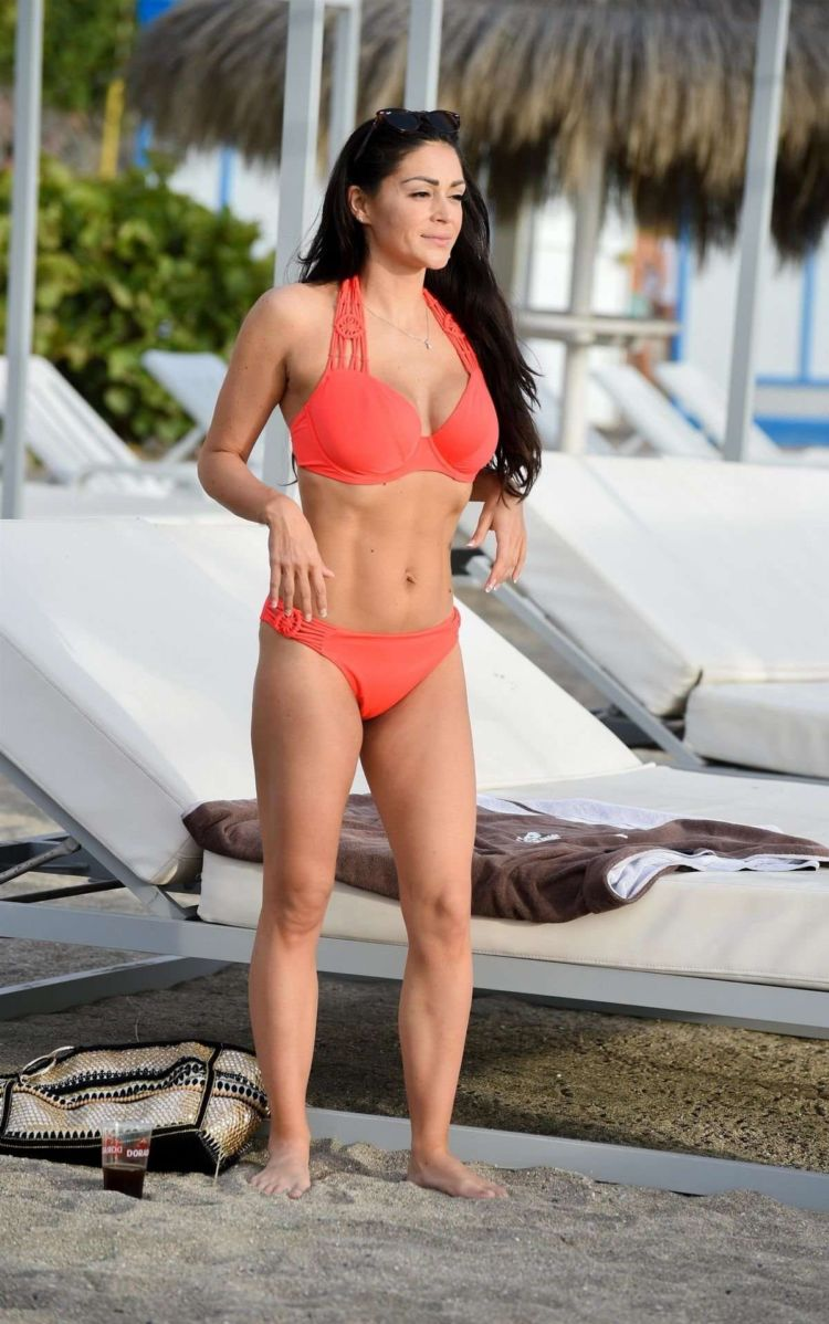 Casey Batchelor In Bikini At A Swimming Pool In Tenerife