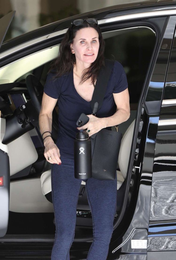 Courteney Cox Candids Outside Gym For Her Morning Workout In LA