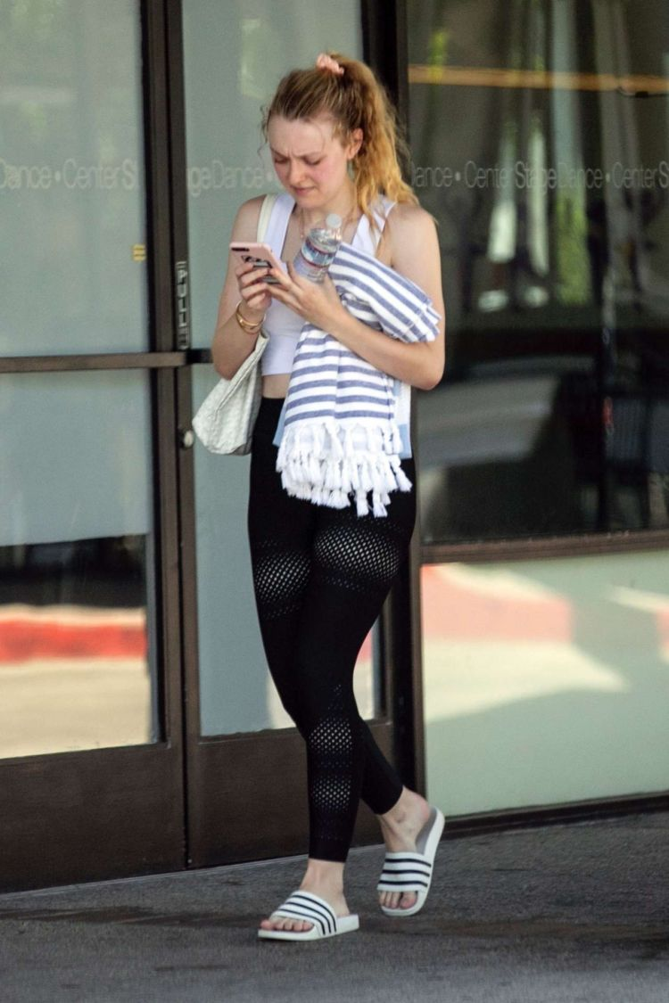Dakota Fanning Candids While Leaving A Gym In Los Angeles