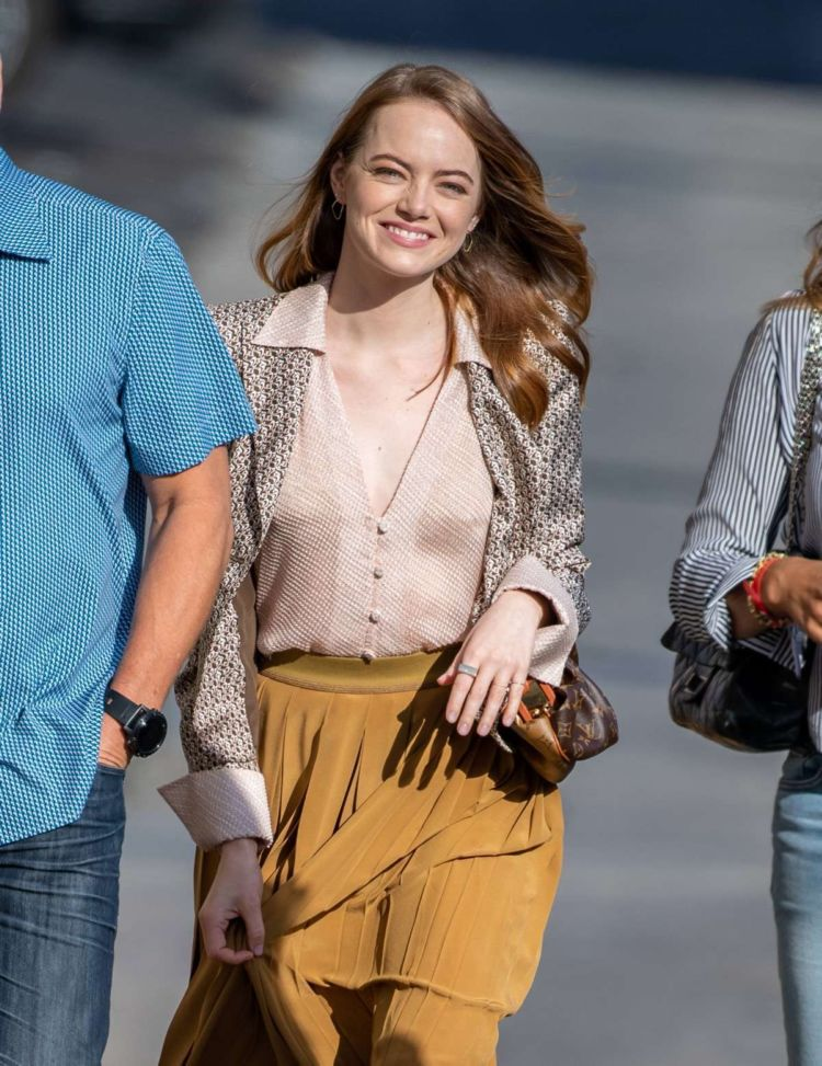 Emma Stone Arrives At 'Jimmy Kimmel Live' In Los Angeles