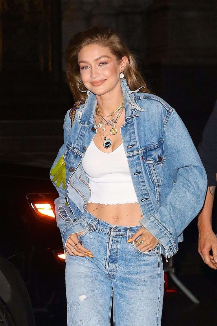 Gigi Hadid Out For A Night Out In Denim Outfit in NYC