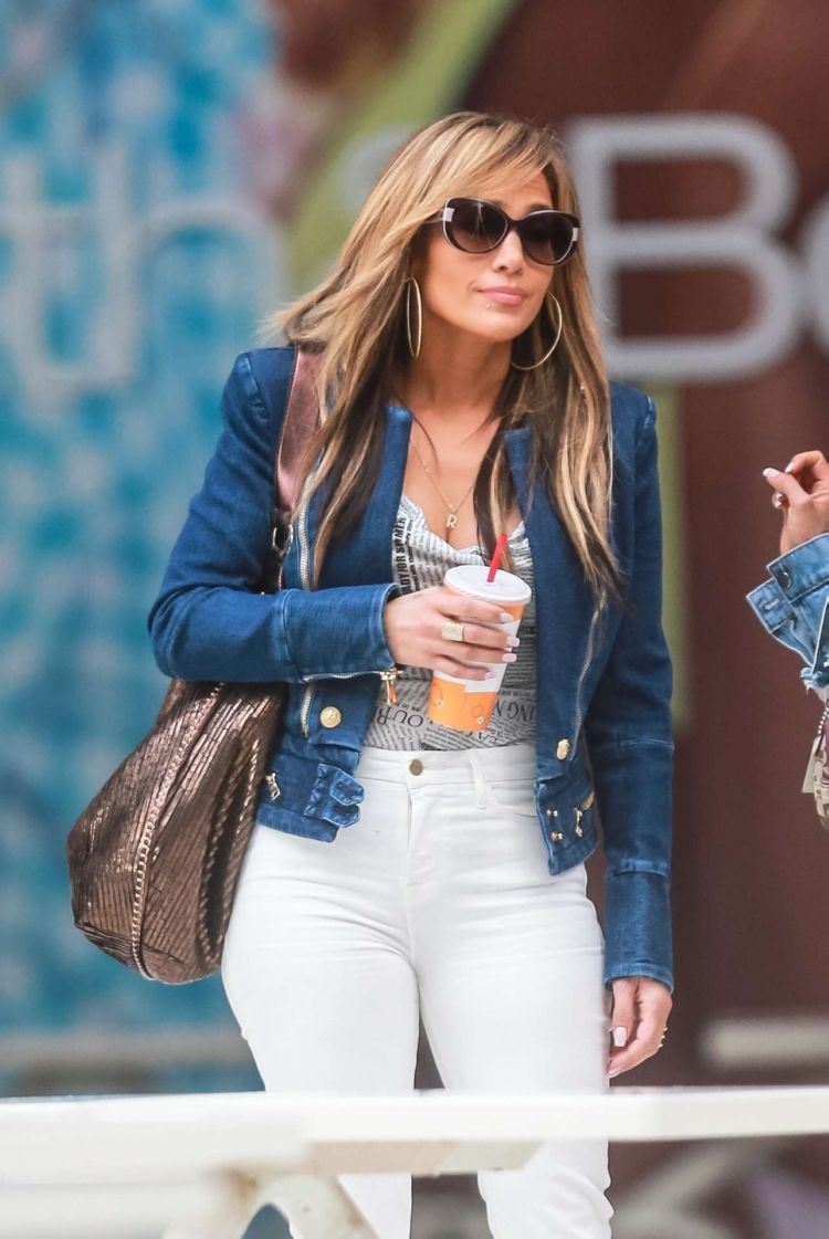 Jennifer Lopez Candids In Jeans And Constance Wu On The Set Of 'Hustlers'