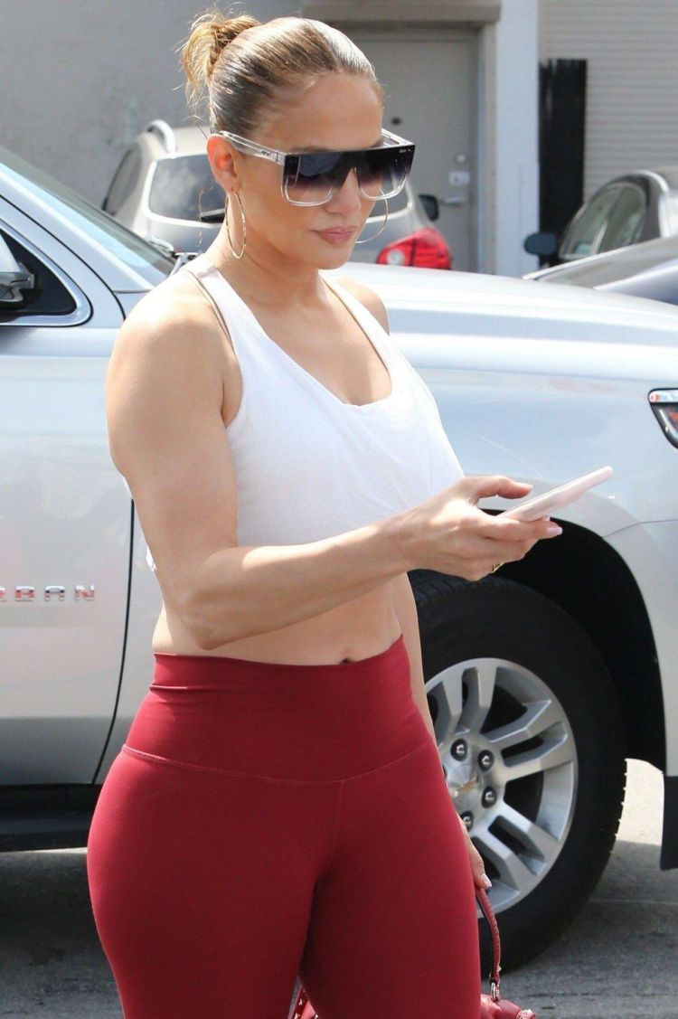 Jennifer Lopez Candids In Red Leggings Out In Miami
