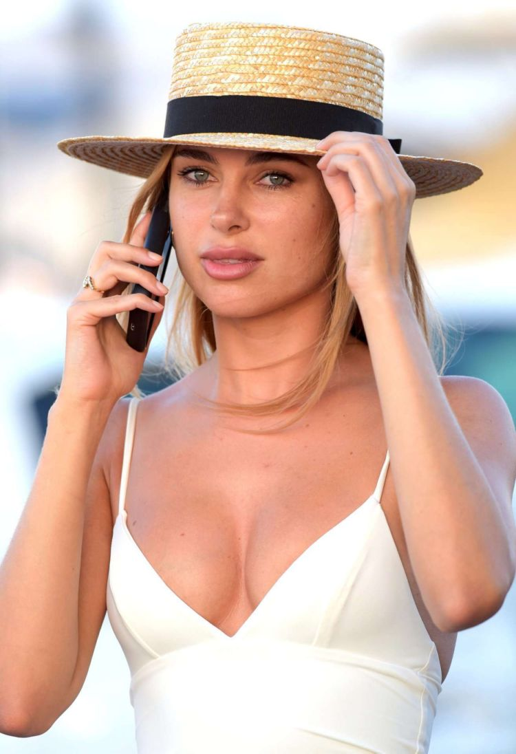 Kimberley Garner In A White Dress Out In St Tropez