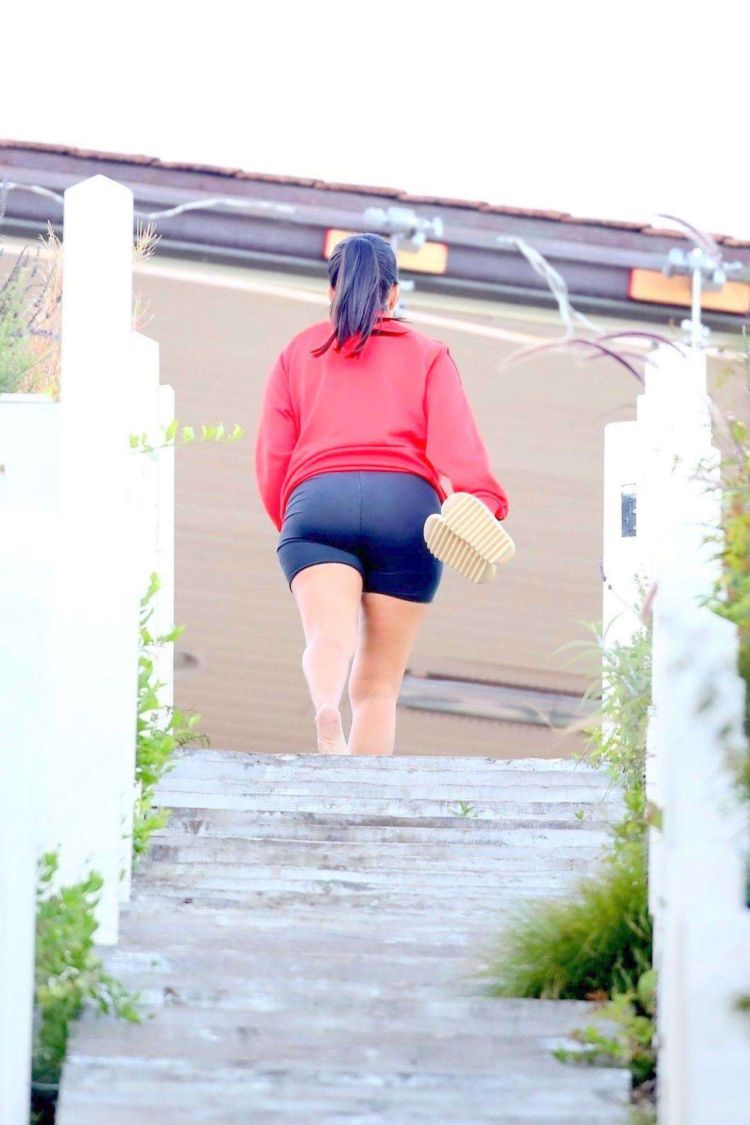 Kourtney Kardashian Candids In Short On The Stairs In Malibu