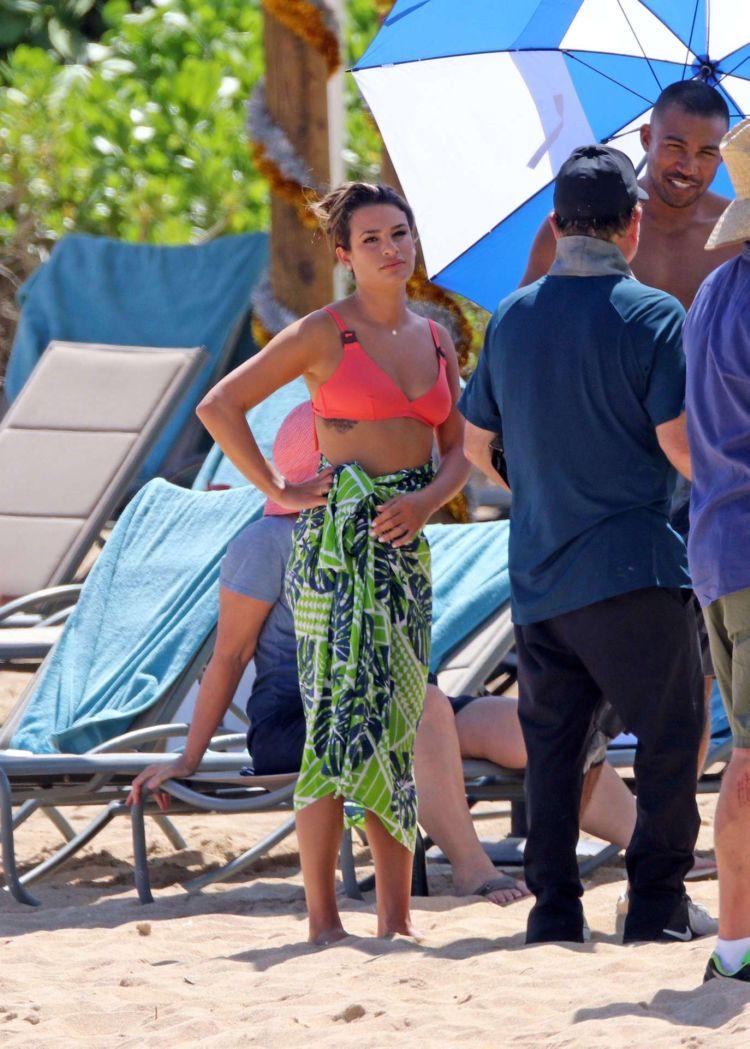 Lea Michele Candids In Bikini On A Film Set In Hawaii