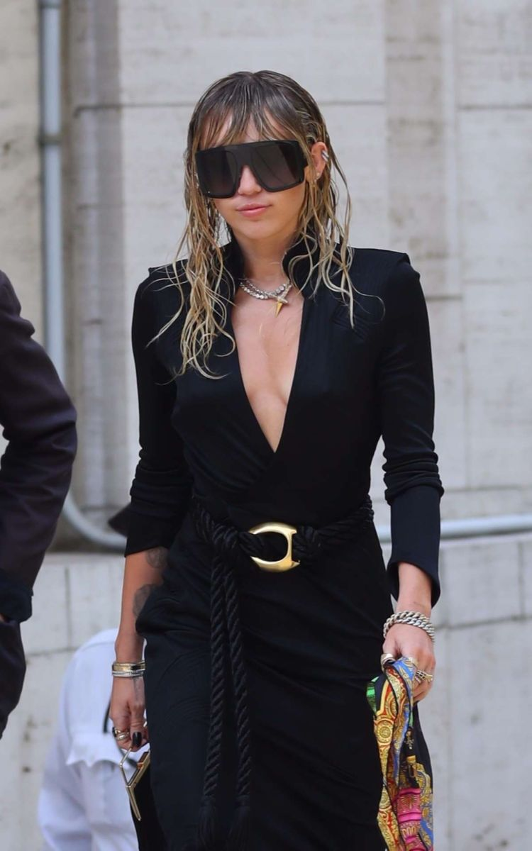 Miley Cyrus Candids In Black Dress Out In New York
