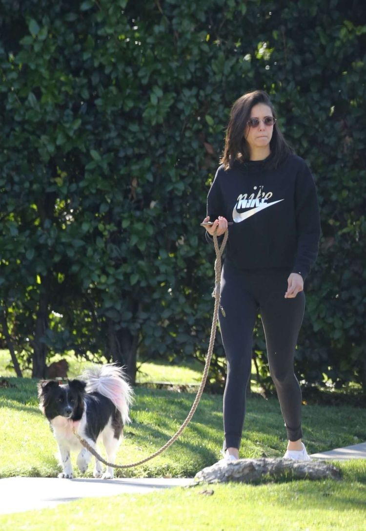 Nina Dobrev Walking Her Dog Maverick In Hollywood