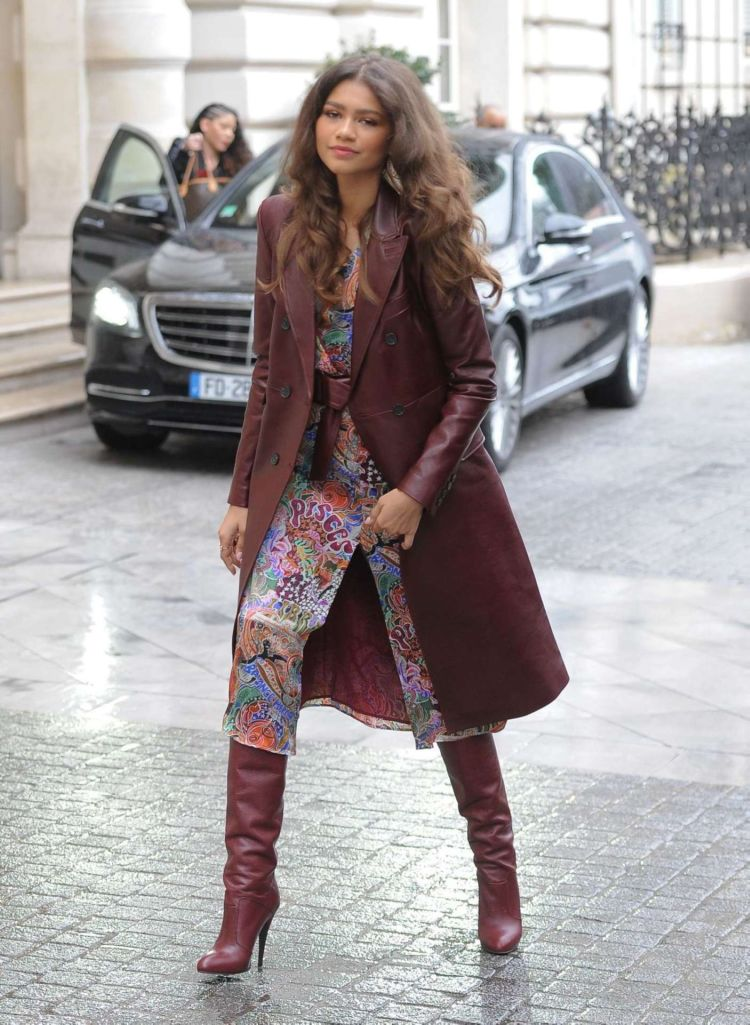 Zendaya Coleman Candids In Leather Coat While Leaving Her Hotel In Paris