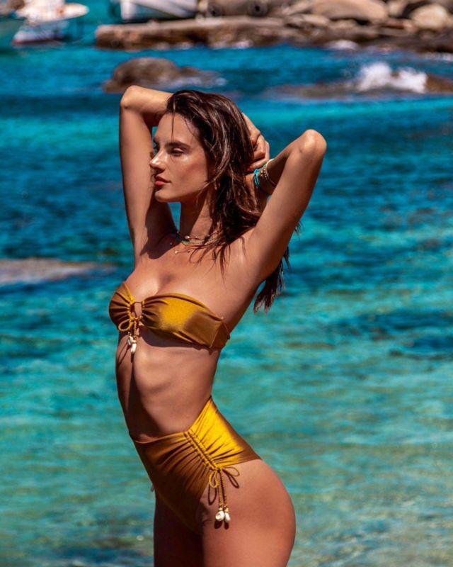 Alessandra Ambrosio Poses For Golden Bikini Photoshoot 2019