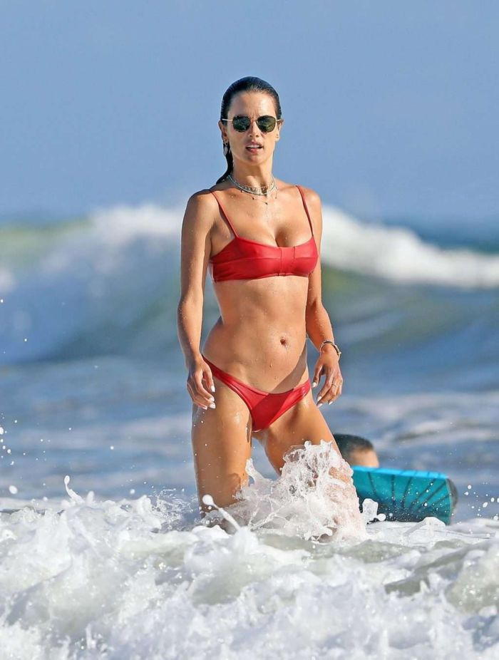 Alessandra Ambrosio In A Red Bikini With Boyfriend Nicolo Oddi In Malibu