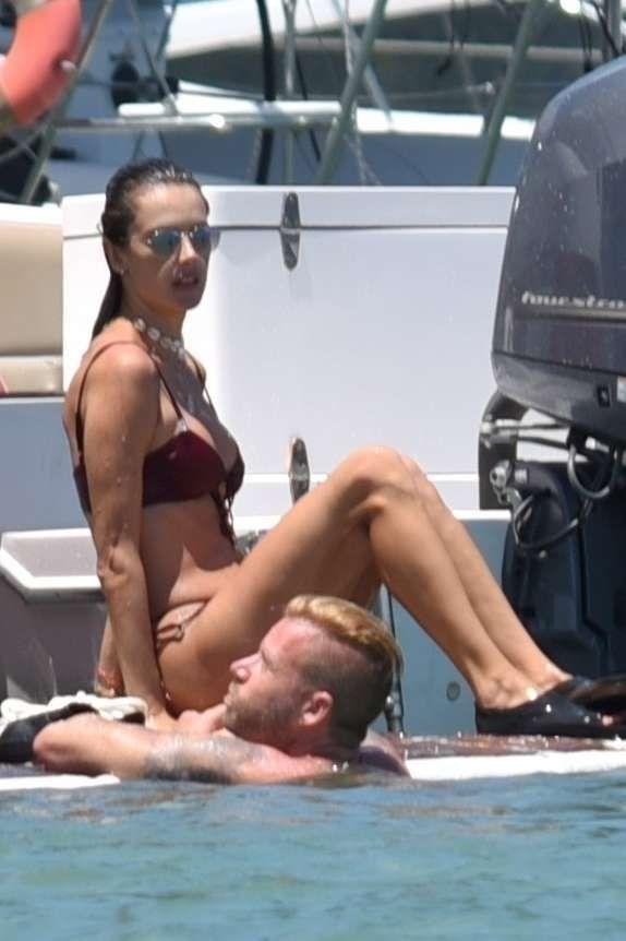 Alessandra Ambrosio Candids In Bikini On A Yacht In Florianopolis