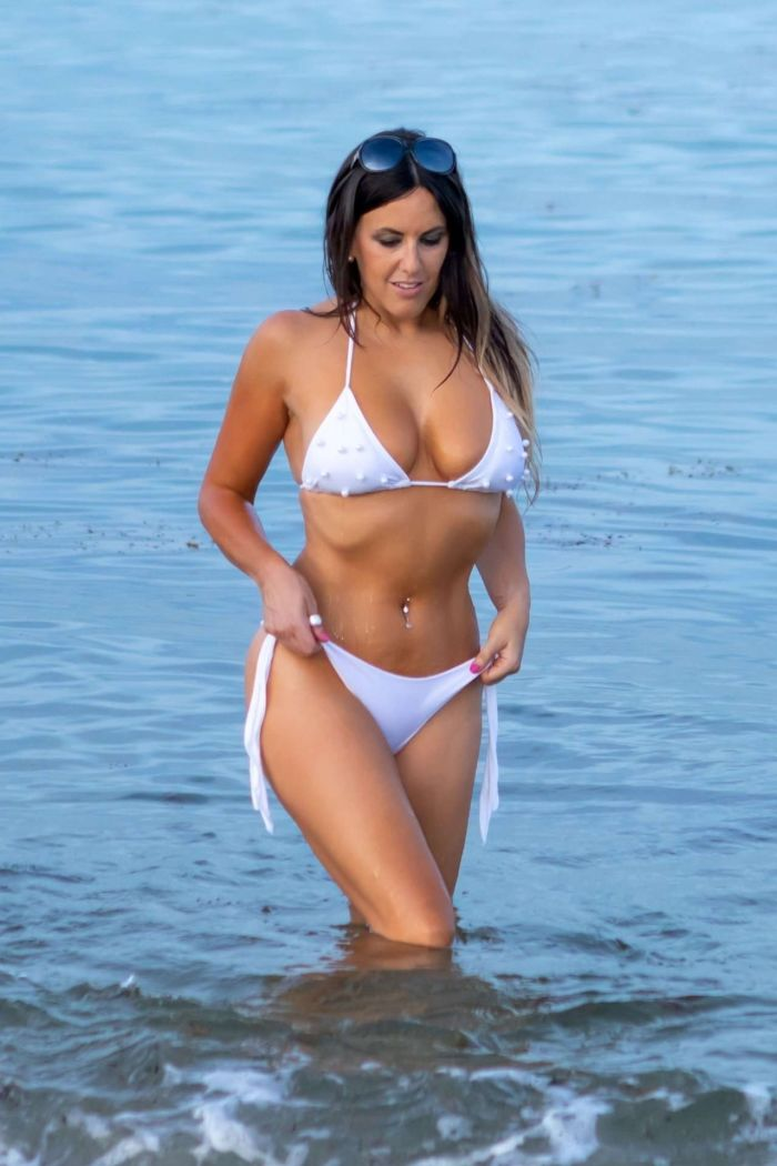 Claudia Romani's Photoshoot In A White Bikini At Miami Beach
