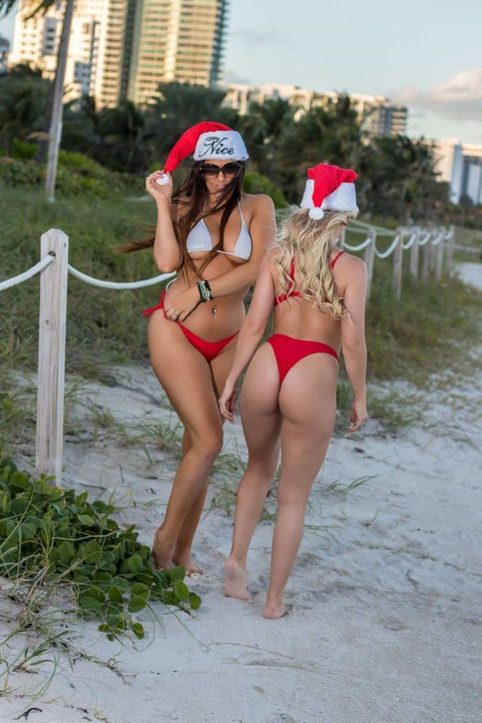 Claudia Romani And Jess Picado In Red Bikinis For Xmas Photoshoot