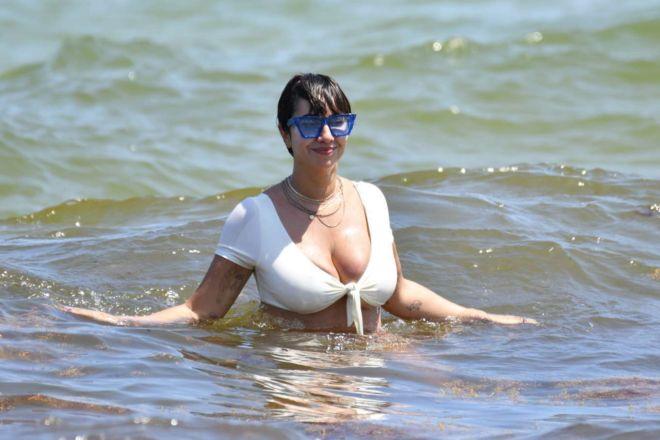Jackie Cruz Hits The Miami Beach In White Bikini