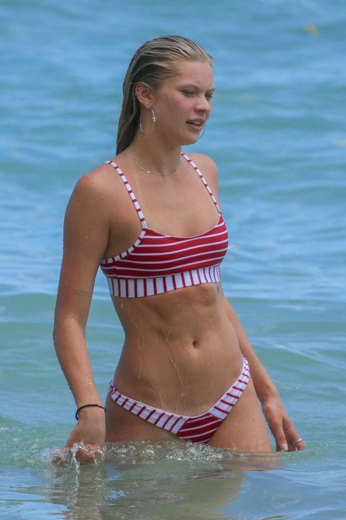 Josie Canseco In A Striped Bikini On The Beach In Honolulu