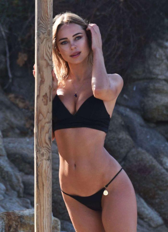 Kimberley Garner In Black Bikini On The Beach In Miami