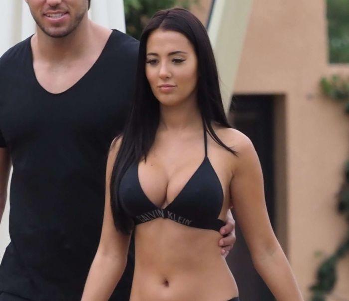 Yazmin Oukhellou In A Black Bikini At A Pool In Marrakesh